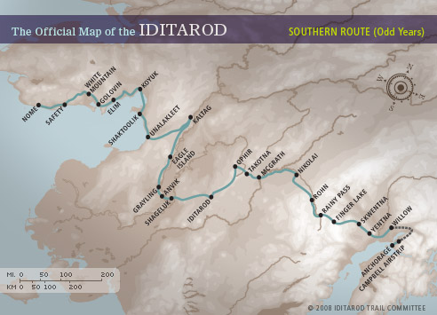 The Official Map of the Iditarod: Southern Route (Odd Years)